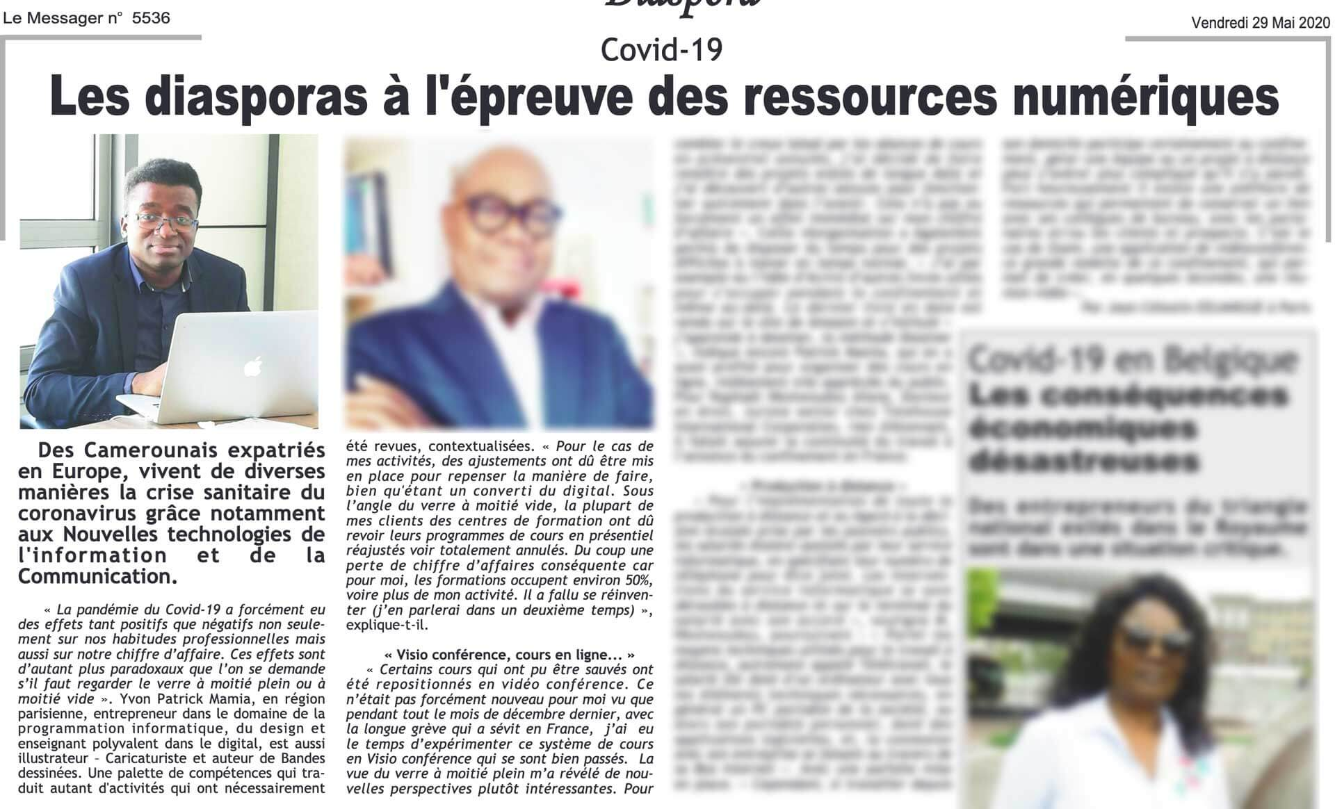 Article de presse avec Photo Mamia dans le Journal Messager Cameroun