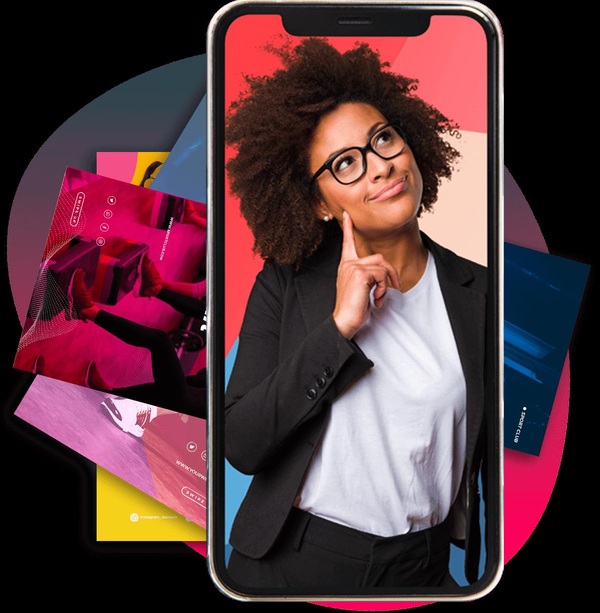 femme qui sourit dans un téléphone mobile visuels application mobile chez Mypaprod