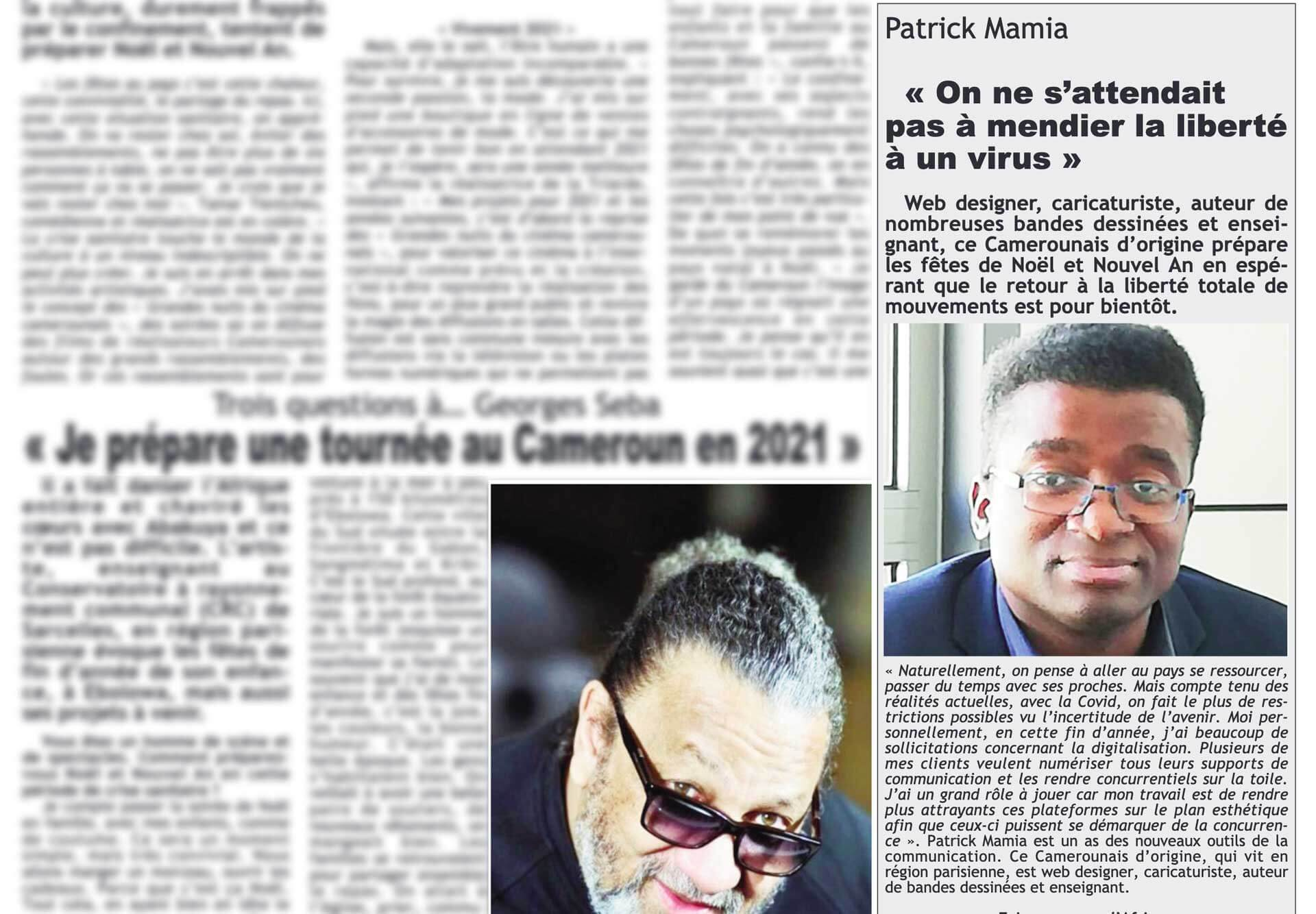 Photo Mamia dans le Journal Messager Cameroun